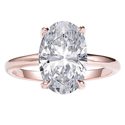 Lemon Grass 2.75ct Oval Solitaire Engagement Ring Thin Band in Sterling Silver 925 14K Rose Gold Plating Size 6