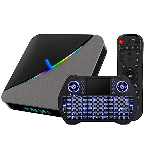Android TV Box 9.0 4GB 64GB Smart TV Box Amlogic S905X3 with Backlit Wireless Mini Keyboard USB 3.0 Ultra HD 4K 8K HDR Dual Band WiFi 2.4GHz 5.8GHz BT 4.1 RGB Lights Set Top Box