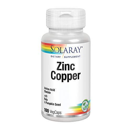 Solaray Zinc Copper Amino Acid Chelates   Healthy Cellular, Heart & Thyroid Function Support w/Pumpkin Seeds & Kelp   Non-GMO & Vegan   100 VegCaps