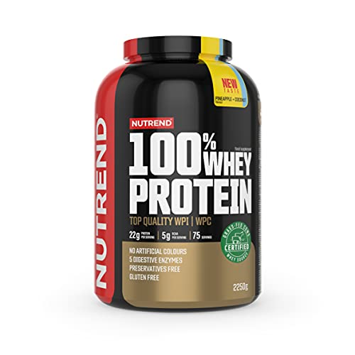 Nutrend 100% Whey Protein Powder Muscle Building and Recovery Powder with Glutamine and Amino Acids, 2250g Pineapple Coconut