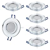 6er Set LED Einbaustrahler Glas super flach 5W 230V 430lm Spot Einbauleuchte Wandleuchte, Dimmbar,...