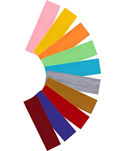 Tie Dye Headbands Cotton Stretch Headbands Elastic Yoga Hairband for Teens Girls Women Adults, Assorted Colors, 10 Pieces (Rainbow Colors)