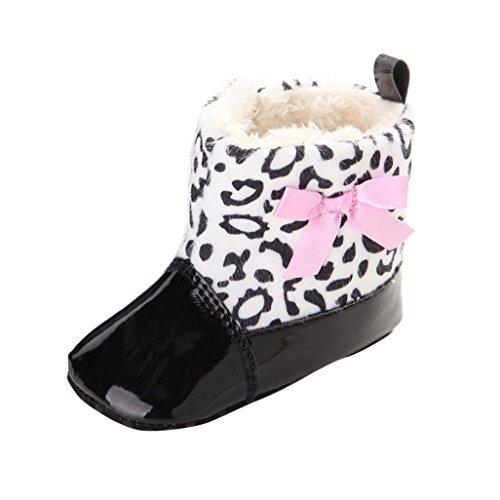 kingko® Unisexe Fille garçon Bébé Tout Nourrisson Bottes de Neige Molle Sole Prewalker Crib Shoes (6~12 Mois, Noir)
