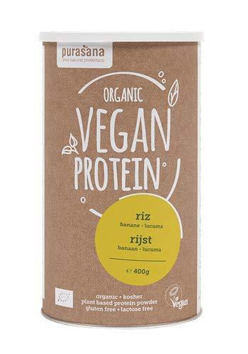 Purasana - Single Protein powder 400 gramme - Poudre de protéines végan Protéines végétales riz - banane lucuma - Poudre de protéines de riz biologiques