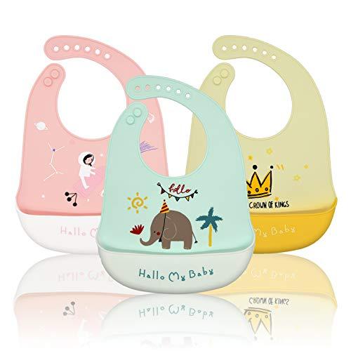 Baogaier Baberos Bebe Baberos Silicona Impermeables Reutilizables Lavables con Bolsillo Baberos de Alimentación Súper Suave Fáciles de Lavar Animales Grande Ajustable para Niños Niño Niña - 3 Pcs