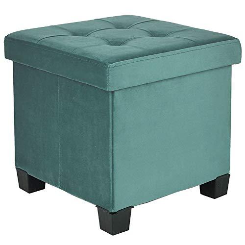 BRIAN & DANY Pouf Contenitore Velluto, Cassapanca Contenitore Cubo Poggiapiedi Sgabello con Piedini, 38 x 38 x 38 cm, Verde Pavone