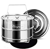 Starpuxx Stackable Steamer Insert Pans - For 6/8 Quart Instant Pot Accessory - Stainless-steel Containers For Pot-in-pot Cooking, Baking And Reheating In The Pressure Cooker With 2 Interchangable Lids