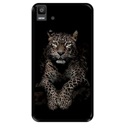 Hapdey Funda Negra para [ Bq Aquaris E5s - E5 4G ] diseño [ Leopardo, Mirando ] Carcasa Silicona Flexible TPU