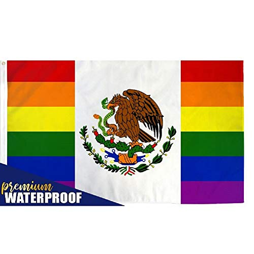 Mexico Rainbow Gay Pride Waterproof Flag 3 x 5 Foot Banner LGBT Festival Mexican
