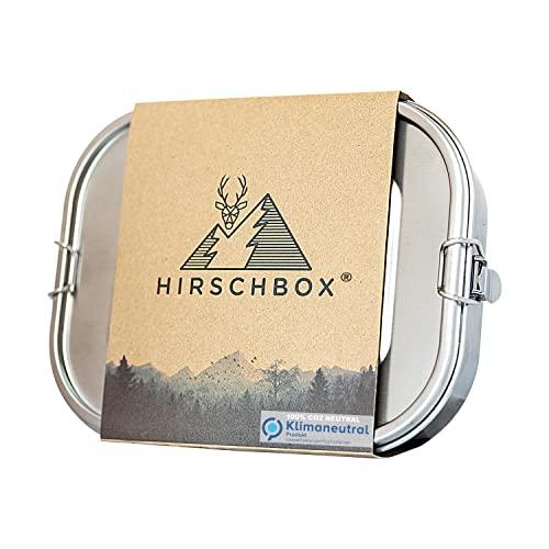 Hirschbox® Brotdose Premium Edelstahl - Verbesserte XL Edelstahl Frischhaltedose (1400ml) Metall Vesperdose +Trennwand – Auslaufsicher, Umweltfreundlich & BPA-frei. Für Kinder & Erwachsene