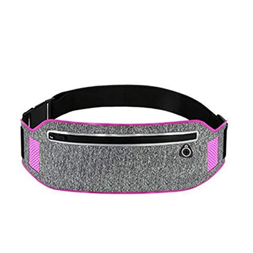 Correr Profesional Bolsa de cintura Deportes Bolsa de cinturón de teléfono móvil Caso Hombres Mujeres ocultos bolsa de gimnasio SportsBags correa corriente paquete de la cintura ( Color : Pink Color )