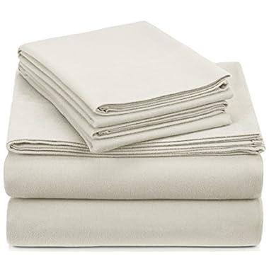 Pinzon Signature 190-Gram Cotton Heavyweight Velvet Flannel Sheet Set - King, Cream