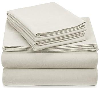 Amazon Brand – Pinzon Signature Cotton Heavyweight Velvet Flannel Sheet Set - California King Cream