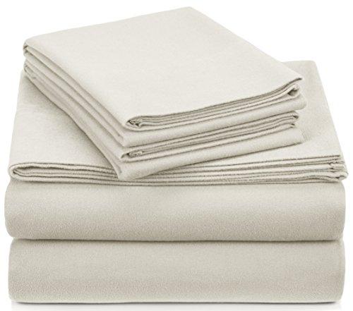 Amazon Brand – Pinzon Signature Cotton Heavyweight Velvet Flannel Sheet Set - King, Cream