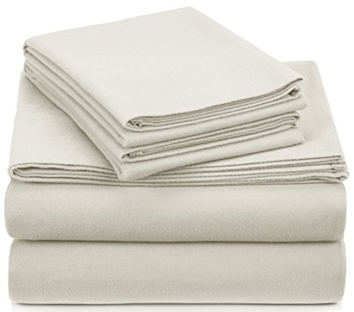 Pinzon Signature Cotton Heavyweight Velvet Flannel Sheet Set - Queen,...