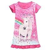 Enfant Fille Chemise de Nuit Licorne Imprimé Arc-en-Ciel Manche Courte Pyjamas Robe