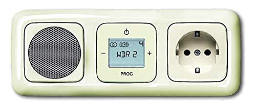 Busch Jäger incasso picchiarlo radio digitale (8215U) crema genieforce-set DURO 2000 altoparlante + presa con protezione per bambini 20 EUCKS-212 radio + unità con 3 PLACCA, ripartizione a piacere