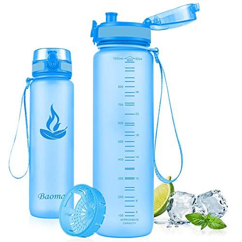 Baomay Botella de Agua Deportiva 500ml, Adultos/Niños Bottle con Filtro, Bidon de Bebidas Plástico Tritan, para Gimnasio, Ciclismo, Trekking | Sin-BPA & Impermeable & Reutilizable (Azul)