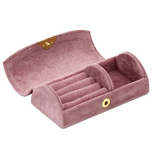 Haude Caja de joyería arqueada de moda con cuentas de terciopelo de viaje de joyería portátil bolsa de almacenamiento bolsa de almacenamiento, rosa