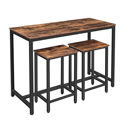 HOOBRO Bartisch-Set, Stehtisch mit 2 Barhocker, Industrieller schmaler Küchentisch, Esstisch mit stabilem Metallrahmen für Wohnzimmer, Esszimmer, Vintage EBF52BT01