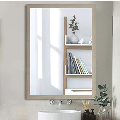 Miroirs cosmétiques muraux 60 * 80 Cm Miroir Verre Moderne Cadre Bois HD Argent Miroir Antidéflagrant for Bedroom Living Room Hallway Any Room Décoratif (Color : Wood Color, Size : 50 * 70cm)