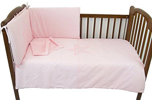 Conjunto cuna 70x140cm:nórdico, chichonera y funda almohada (Estrellas/Rayas Rosa)