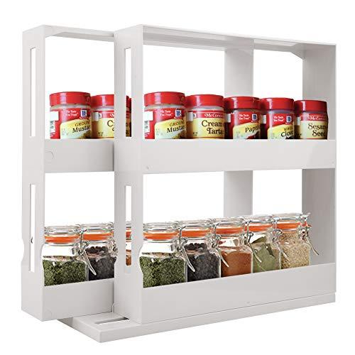INFILM 2 Tier Spice Rack, Multifunctional Rotating Cabinet Caddy Cupboard Organizer Swivel Storage Shelf - Stores Prescriptions, Hardware, Essential Oils, Crafts & More