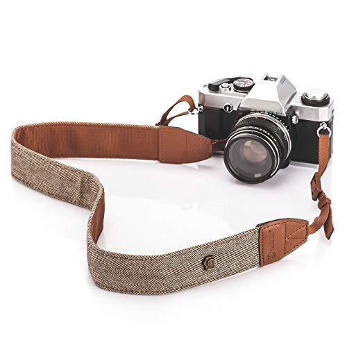 TARION - Correa para el Hombro y el Cuello para Todas Las cámaras réflex Digitales, Nikon, Canon, Sony, Pentax Classic, Color Blanco y marrón