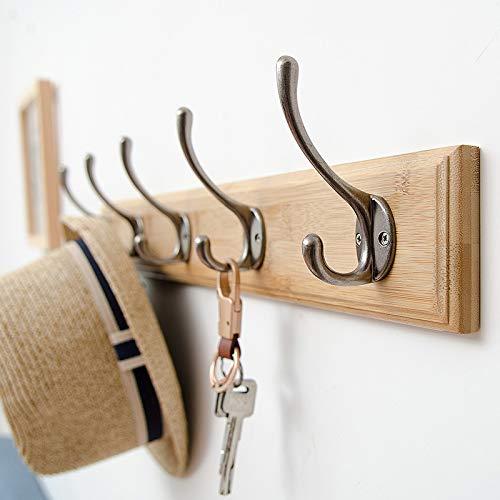 Perchero de pared de bambú con 5 ganchos cromados para colgar abrigos de pared, estilo vintage, perchero de pared, cuarto de baño, dormitorio, perchero de pared, perchero de pared, puerta
