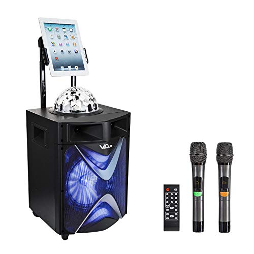Karaoke Machine for Adults & Kids, VeGue Wireless Portable Karaoke Machine with 2 UHF Wireless Microphones, Disco Ball, Ideal for Home Karaoke, Party, Church (VS-1088)