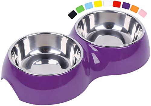 DDOXX Doppel-Fressnapf, rutschfest | viele Farben & Größen | für kleine & große Hunde | Futter-Napf Katze doppelt | Hunde-Napf Hund | Katzen-Napf Edelstahl-Napf | Melamin-Napf | Lila, 2 x 160 ml