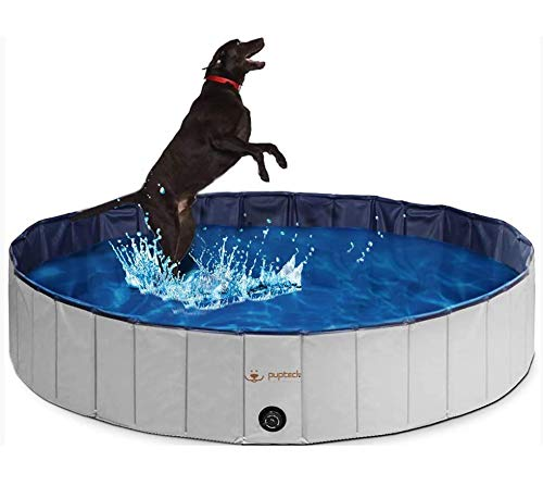 PUPTECK Foldable Dog Swimming Pool - Portable Collapsible Pet Bathing Tub, Indoor & Outdoor Leakproof Pool for Dogs Cats Spa, Extra Large