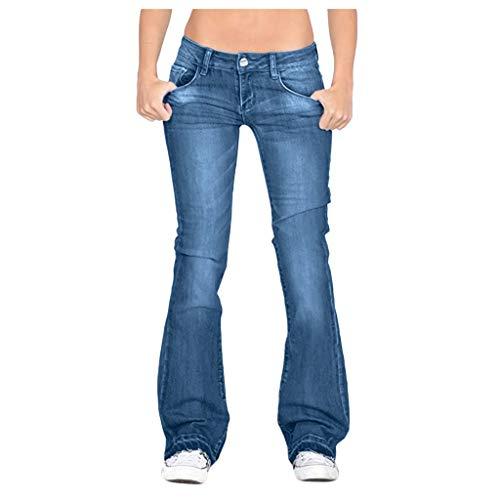 BaZhaHei Jeans Donna Elastici Pantaloni a Gamba Larga Moda Casuale Pantaloni Vita Media Allungare Slim-Fit Trousers Pants Taglie Forti Pantaloni a Zampa XS-4XL (XL, Blue)
