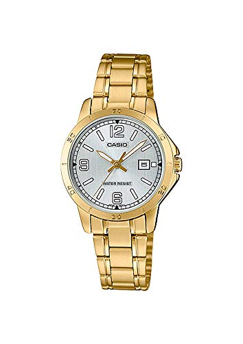 Casio LTP-V004G-7B2 Women's Gold Tone Stainless Steel Silver Dial Date Dress Watch