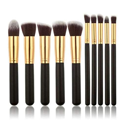 Mvude Mini pinceaux de Maquillage 10 pièces Fond de Teint Poudre Sourcils Eyeliner Blush correcteur pinceaux kit,Noir doré