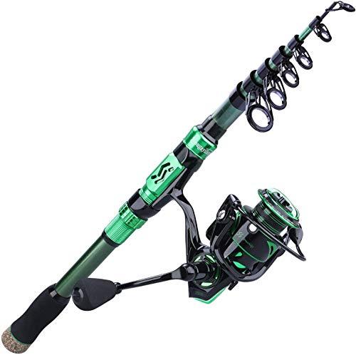 Sougayilang - Carrete de pesca telescópico portátil para pesca en agua dulce,...