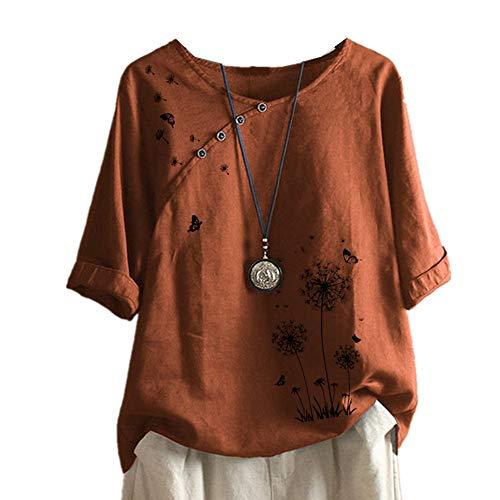 x8jdieu3 Camicia Estiva Girocollo Stampa E Tintura Cuciture Cotone E Lino Farfalla Temperamento Pendolare T-Shirt A Maniche A Sette Quarti Superiore Femmina