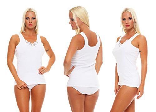 4 Stück Damen-Vollachsel Unterhemden weiß mit Spitze Gr. 40/42, feinripp ohne seitennähte damen unterhemd spitze weißes Unterhemd Unterhemd vollachsel Unterhemd Gr. 36-38 ohne arm Frau Größe Grösse