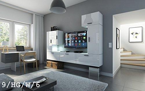FUTURE 9 Moderne Wohnwand, Exklusive Mediamöbel, TV-Schrank, Neue Garnitur, Große Farbauswahl (RGB LED-Beleuchtung Verfügbar) (9_HG_BW_3, Möbel)