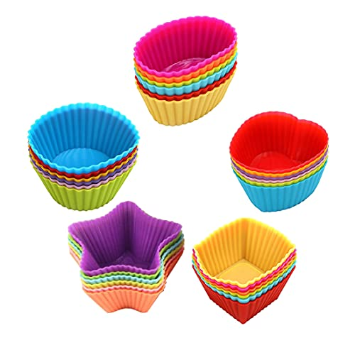 Monysun Silicone Reusable Baking Cups, 30 Pack Nonstick Easy Clean Cake Molds, 5 Shapes Multicolor BPA Free Food Grade Silicone Muffin Pan Liners for Baking