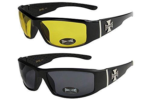2er Pack Choppers 6608 X0 Sonnenbrillen Unisex Herren Damen Männer Frauen Brille - 1x Modell 12 (schwarz glänzend / gelb getönt) und 1x Modell 05 (schwarz matt / schwarz getönt) - Modell 12 + 05 -