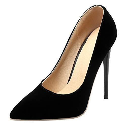 LUXMAX Donna Decolte con Tacco a Spillo Alto Sexy Slip-on Scarpe High Heels Stiletto Decolltete Punta Chiusa Pumps 12 CM (Nero) - 34 EU