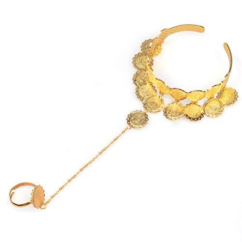 Encanto monedas brazaletes para las mujeres oro color arabe pulsera medio oriente africano boda joyería regalos de la riqueza de la suerte