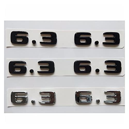 Letra Emblema Cromado Mate Brillante Número 6. 3 Fender Emblem Emblemas Insignias Ajuste for Mercedes Benz AMG W207 W211 W212 W203 W204 W205 C63 E63 (Color : Chrome(Shiny Silver))