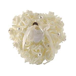 ruiruiNIE Almohada de Anillo 1 Pieza Almohada de Anillo de Boda Almohada de Anillo Blanco Encaje Cristal Rosa Caja de Anillo de corazón de Boda