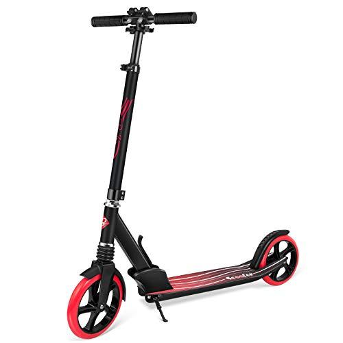 BELEEV Roller für Erwachsene, Tretroller Kick Scooter mit 2 Rädern, Schnellverschluss Klappbar System, 4 Höhenverstellbare, Große 200mm Räder Roller Jugendliche (Rot)