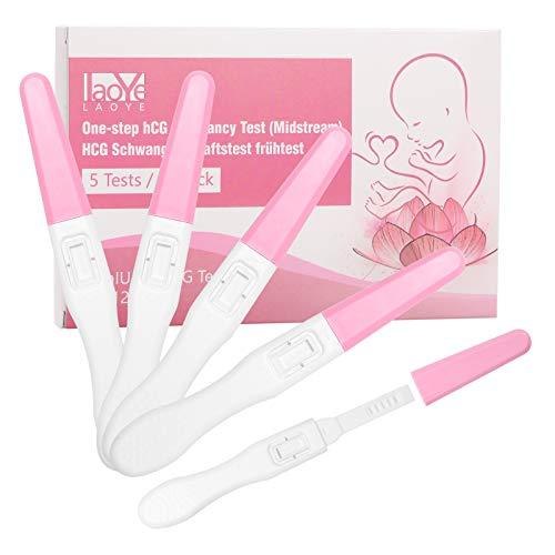 LAOYE 5er Pack Schwangerschaftstest Frühtest Onestep Schwangerschaftstests mit HCG Teststreifen, Frühtest Pregnancy Test(25miu/ml)