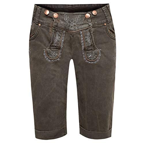Hangowear Jeans-Lederhose Bermuda in Dunkelbraun, Größe:38, Farbe:Dunkelbraun