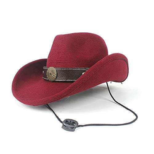 LQ-BNM Panamahut - Western-Cowboyhoed, doorbroken wollen hoed voor dames en heren, Steampunk-hoed met brede rand 58 cm