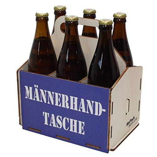 Bierträger aus Holz, Männerhandtasche, Sixpack Bier, 6er Träger, Bier-Sechserträger, Biergeschenk, Geburtstagsgeschenk, Grillgeschenk, Sechsertragerl, 50 Jahre, 50. Geburtstag